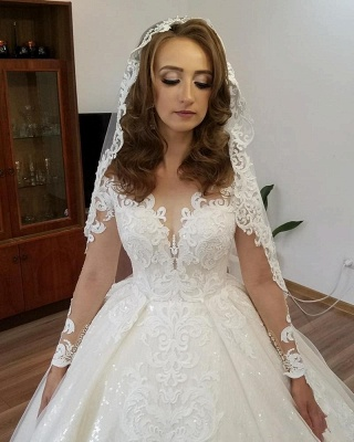 Designer Wedding Dresses Lace A line | Cheap wedding dresses with sleeves_3