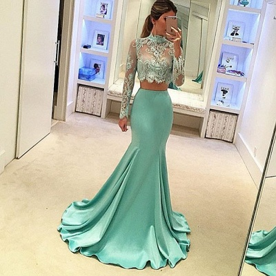 Green Evening Dresses Long Sleeves Lace Mermaid Satin Evening Wear Prom Dresses_2