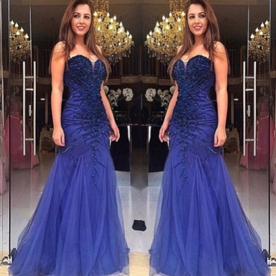 Blue Prom Dresses Evening Dresses Long Tulle Beaded Lace Prom Dresses Cheap_2