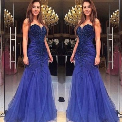 Blau Abschlussballkleider Abendkleider Lang Tüll Perlen Spitze Ballkleider Günstig_2