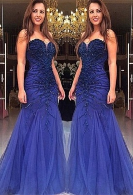 Blue Prom Dresses Evening Dresses Long Tulle Beaded Lace Prom Dresses Cheap_1