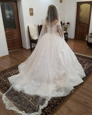 Designer Wedding Dresses Lace A line | Cheap wedding dresses with sleeves_5