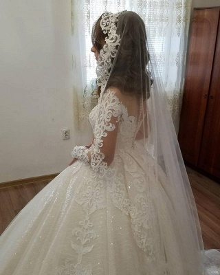 Designer Wedding Dresses Lace A line | Cheap wedding dresses with sleeves_4