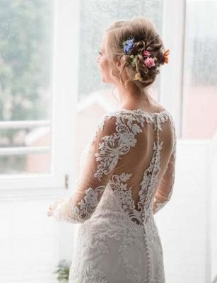 Designer Weiße Hochzeitskleider Mit Ärmel Spitze Meerjungfrau Brautkleider Günstig Online_3