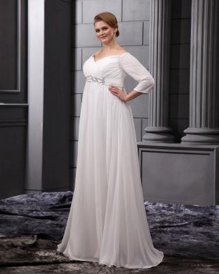 Etuikleider Große Größe Brautkleider Mit Ärmel Chiffon Weiß Hochzeitskleider Übergröße_5