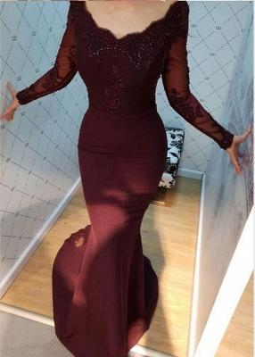 Elegante Abendkleider mit Ärmel | Weinrot Abendmoden Online_2
