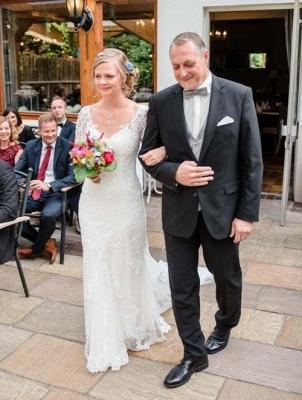 Designer Weiße Hochzeitskleider Mit Ärmel Spitze Meerjungfrau Brautkleider Günstig Online_5
