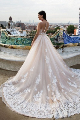Elegant wedding dresses with lace tulle wedding dresses cheap online_2