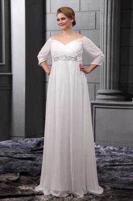 Etuikleider Große Größe Brautkleider Mit Ärmel Chiffon Weiß Hochzeitskleider Übergröße_1