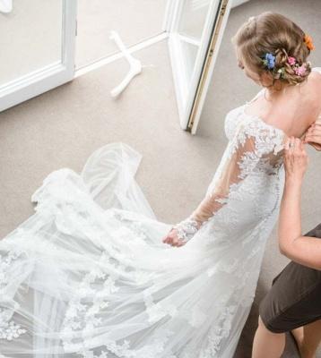 Designer Weiße Hochzeitskleider Mit Ärmel Spitze Meerjungfrau Brautkleider Günstig Online_2