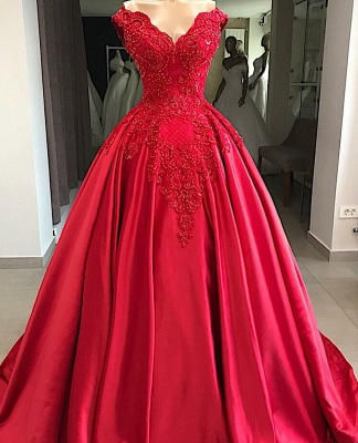 Modern evening dresses long red | Satin Prom Dresses Cheap Online_1