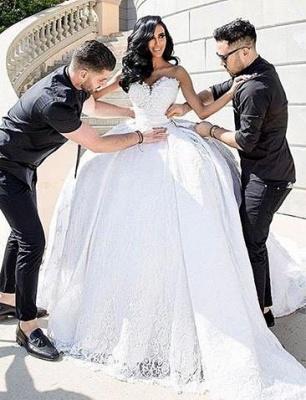 Weiße Brautkleider Mit Spitze Prinzessin Satin Brautmoden Hochzeitskleider Mit Schleppe_2