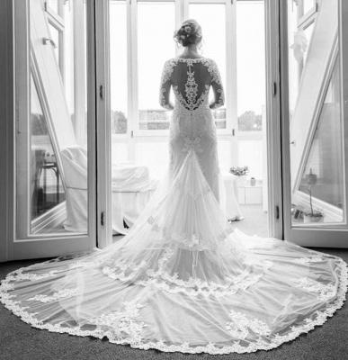 Designer Weiße Hochzeitskleider Mit Ärmel Spitze Meerjungfrau Brautkleider Günstig Online_1