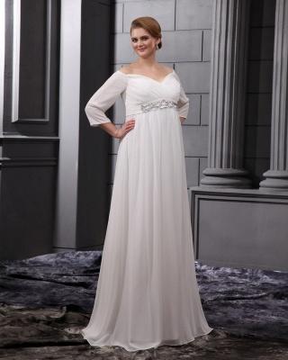 Etuikleider Große Größe Brautkleider Mit Ärmel Chiffon Weiß Hochzeitskleider Übergröße_4