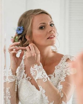 Designer Weiße Hochzeitskleider Mit Ärmel Spitze Meerjungfrau Brautkleider Günstig Online_4