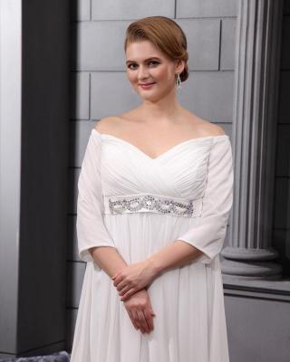 Etuikleider Große Größe Brautkleider Mit Ärmel Chiffon Weiß Hochzeitskleider Übergröße_3