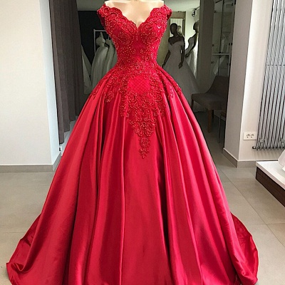 Modern evening dresses long red | Satin Prom Dresses Cheap Online_2
