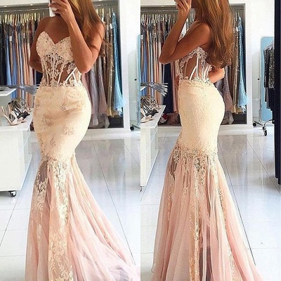 White Evening Dresses Long With Lace Mermaid Prom Dresses Party Dresses_2