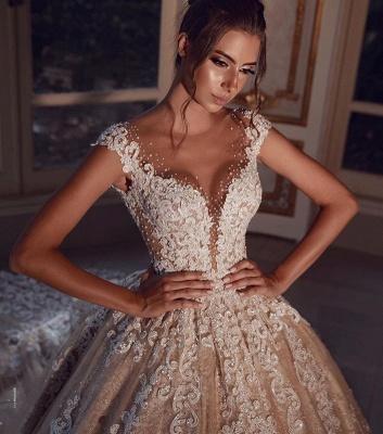 Luxus Hochzeitskleider Lang Glitzer | Brautkleider Prinzessin mit Spitze_2