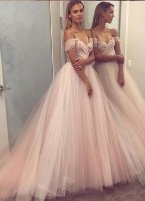 Designer wedding dresses a line off shoulder tulle wedding gowns for sale at cheap prices online_1