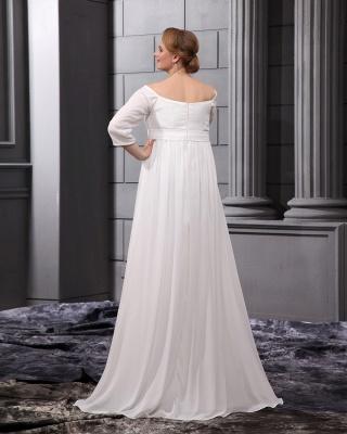 Etuikleider Große Größe Brautkleider Mit Ärmel Chiffon Weiß Hochzeitskleider Übergröße_2