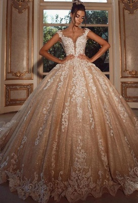 Luxus Hochzeitskleider Lang Glitzer | Brautkleider Prinzessin mit Spitze_4