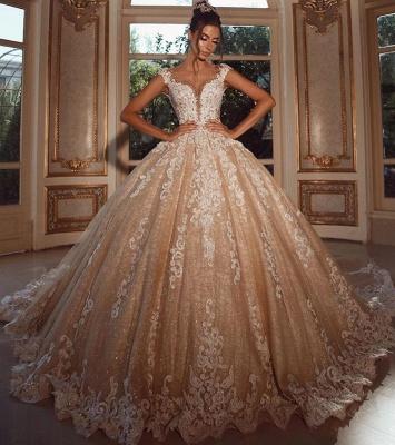 Luxus Hochzeitskleider Lang Glitzer | Brautkleider Prinzessin mit Spitze_1