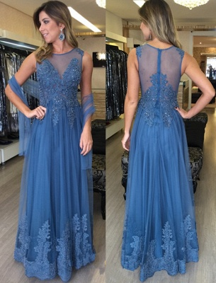 Simple Blue Long Evening Dresses With Lace Beaded Floor Length Tulle Evening Wear Prom Dresses_1