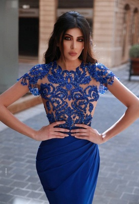 Elegant evening dresses with sleeves | Royal blue prom dresses with lace_2