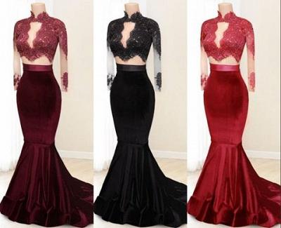 Buy elegant evening dress red velvet mermaid 2 piece evening dresses online_3