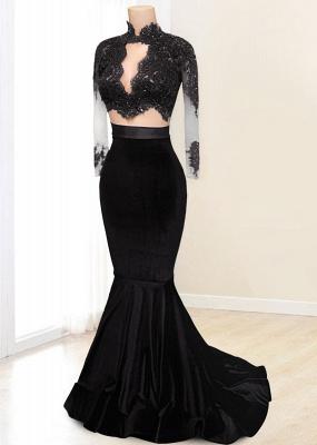 Buy elegant evening dress red velvet mermaid 2 piece evening dresses online_2
