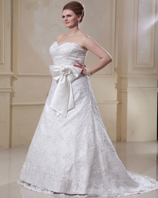 White Wedding Dresses Plus Size Lace A Line Plus Size Wedding Dresses With Train_5