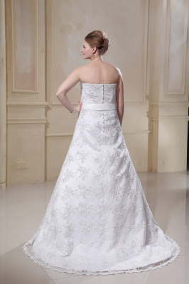 White Wedding Dresses Plus Size Lace A Line Plus Size Wedding Dresses With Train_2