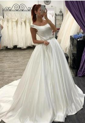 Elegante Brautkleider A Linie | Satin Hochzeitskleider Brautmoden Online_1