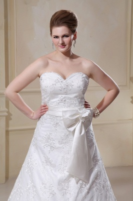 White Wedding Dresses Plus Size Lace A Line Plus Size Wedding Dresses With Train_3