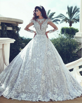 Luxurious White Wedding Dresses With Sleeves Crystal A Line Lace Wedding Dresses Bridal_2