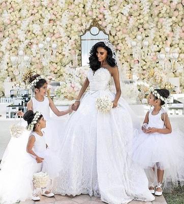 Weiße Brautkleider Mit Spitze Prinzessin Satin Brautmoden Hochzeitskleider Mit Schleppe_5