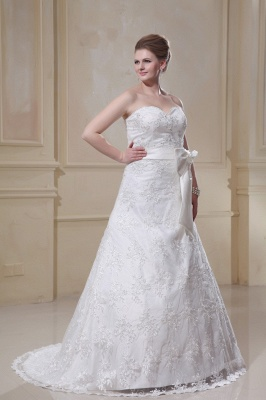White Wedding Dresses Plus Size Lace A Line Plus Size Wedding Dresses With Train_4