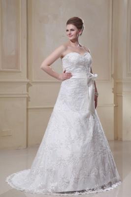 Weiß Brautkleider Große Größe Spitze A Linie Hochzeitskleider Übergröße Mit Schleppe_4