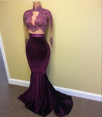 Buy elegant evening dress red velvet mermaid 2 piece evening dresses online_4