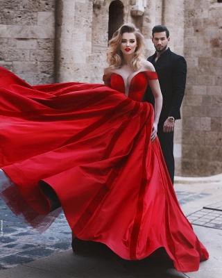Elegante Abendkleider Rot Lang Herz Ausschnitt Satin Abiballkleider Günstig Kaufen_4