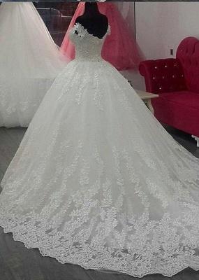 Schlichte Brautkleider Weiß Mit Spitze A Linie Schulterfrei Schleppe Hochzeitskleider Günstig_2