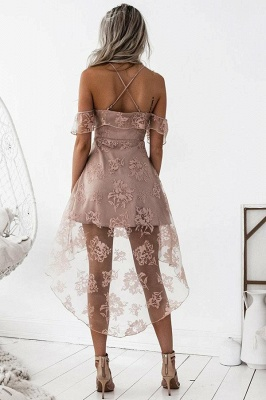 Pink Cocktail Dresses Front Short Behind Long Lace Evening Dresses Online_2