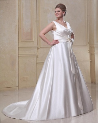 Wedding Dresses Plus Size White Straps A Line Satin Wedding Dresses Plus Size Custom Medium_3