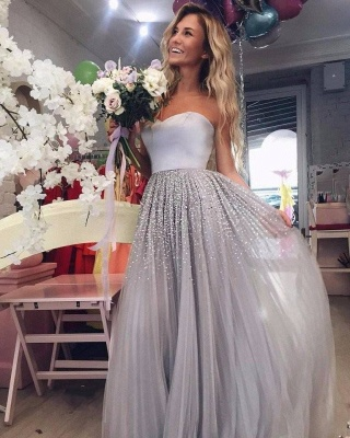 Silver evening dresses long cheap with beaded sheath dresses prom dresses online_1