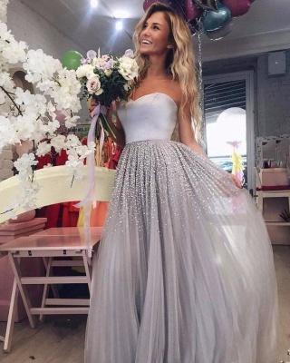 Silber Abendkleider Lang Günstig Mit Perlen Etuikleider Abiballkleider Online_1