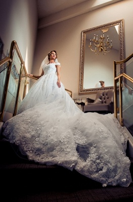 Buy Elegant A Line Wedding Dresses White Lace Wedding Gowns Online_1
