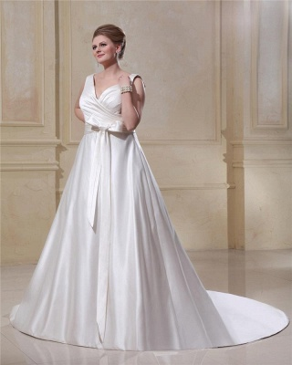 Wedding Dresses Plus Size White Straps A Line Satin Wedding Dresses Plus Size Custom Medium_4