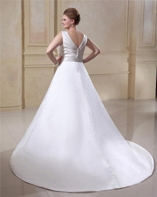 Wedding Dresses Plus Size White Straps A Line Satin Wedding Dresses Plus Size Custom Medium_5