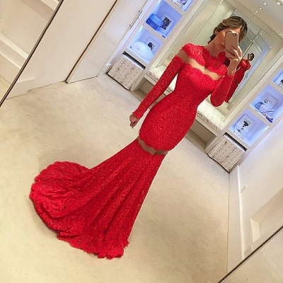Red prom dresses with lace long sleeves evening wear prom dresses_2